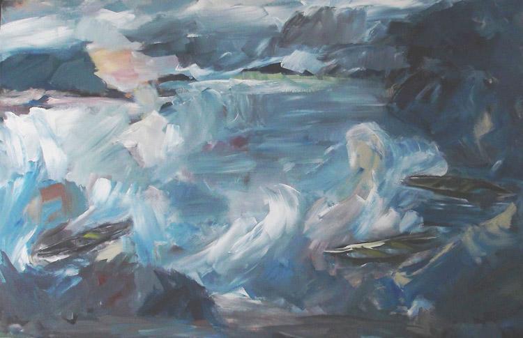 Treibende-Boote-2015-Acryl-auf-LW-110x170